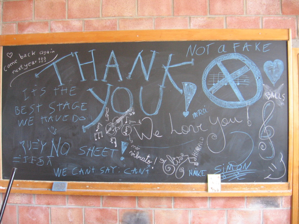 """Thank you"" note from workshop class (""stage""= French for workshop) at Virton, 2009"